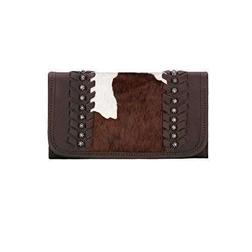 american-west-womens-cow-town-chocolate-pony-hair-tri-fold-wallet-chocolate-one-size