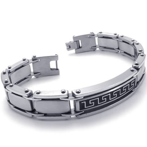 Konov Jewellery Polished Stainless Steel Link Mens Bracelet Bangle, Colour Silver Black, Length 8 1/4 inch