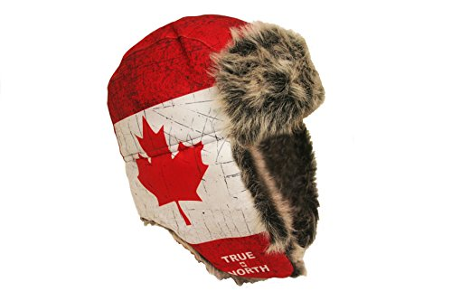 TRUE NORTH Canada Country Flag Adult Trapper Furry Winter Hat .. New (Canada Artic compare prices)