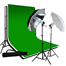 LimoStudio 700 Watt Photography Studio Lighting Kit, 10\' x 10\' Black White Green Chromakey Muslin Backdrop Background Kit, 1 x Black-Silver Reflector Umbrella, 1 x White Diffuser Umbrella, Carrying Bag, LMS687
