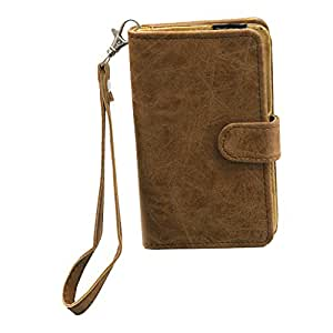 Jo Jo A9 Classic Leather Carry Case Cover Pouch Wallet Case For Spice Flo Rainbow M-6111 Tan