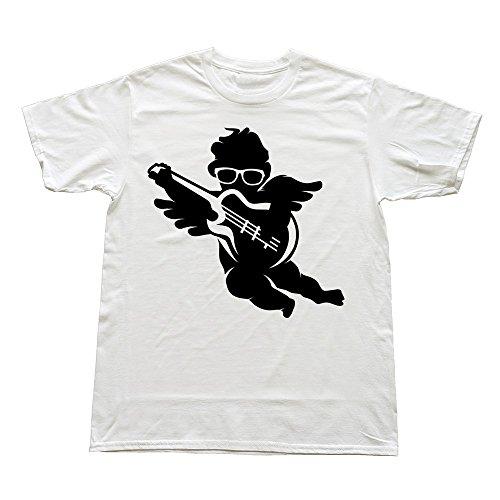 Mens Cherub Cool Glasses Electric Guitar Custom Retro White T-Shirt By Rrg2G