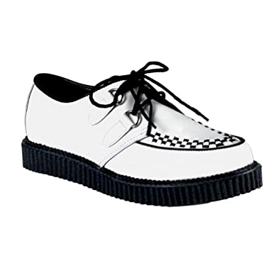 Mens White Leather Creepers 1 Inch Platform Woven Black Lace Up Shoes