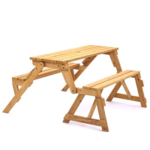 Trueshopping 'Modbury' Versatile 2 Seater Outdoor Garden & Patio Wooden Bench - Converts to 4 Person Picnic Table - 2 in 1 Dining Furniture - Solid Wood with Natural Finish - Pub Style & Space Saving Design
