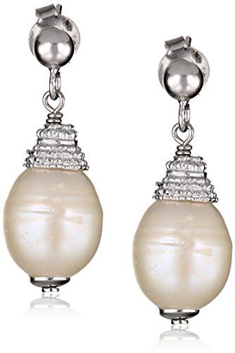 Sterling Silver White Freshwater Cultured Pearl Drop Earrings