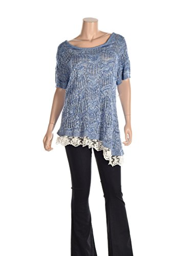 Inc International Concepts Plus Size Lace-Hem Open-Knit T Goddess Blue 2X (Inc Plus compare prices)