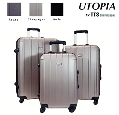 Whole Set of 3 Utopia Robustsuitcases Luggagee Luggages Large Medium Small of whichone cabin - Trolley wheels man woman mixed - 360°wheel - Lightweight - Telescopic handle - TSA key lock