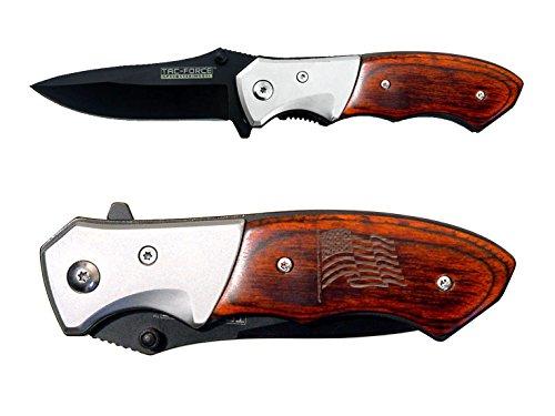 USA Flag Wave v2 engraved TAC-Force TF-468 Pakkawood Gentleman's Speedster Model Folding Pocket Knife by NDZ Performance