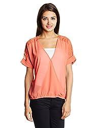Lee Women's Body Blouse Shirt (LESH8414_Coral_Large)