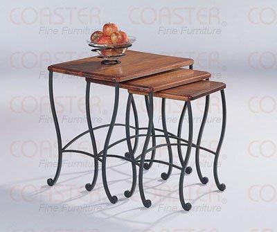 Coaster Nesting Tables, Black Iron Base Frame with Rustic Oak Wood, 3-Piece Set