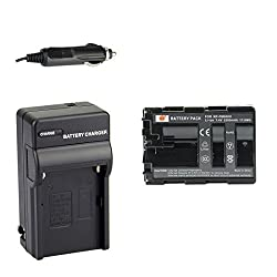 DSTE NP-FM500H Battery + DC01 Travel and Car Charger Adapter for Sony Alpha SLT A77V A77II A350 A450 A500 A550 A700 A850 A900 CLM-V55 DSLR Camera as NP-FM500