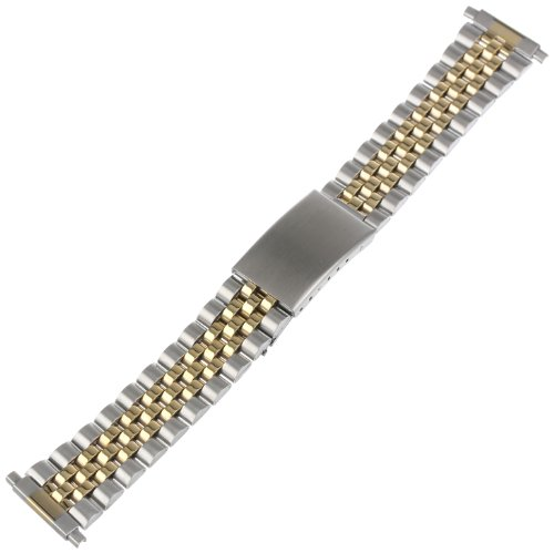 Voguestrap TX121T Allstrap 16-21mm Two-Tone Adjustable-Length 2-Tone Link- Center Clasp Watchband