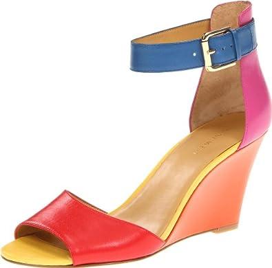 Nine West Women's Ferdinand Wedge Sandal,Pink Multi Leather,5 M US