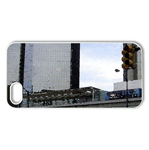 Detroit, Michigan – Case Cover for iPhone 5 and 5S (Skyscrapers Series, Watercolor style, White)