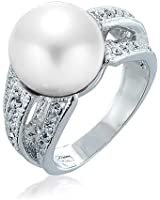 Bling Jewelry Triple Row Crystal White Simulated Pearl Cocktail Ring Rhodium Plated