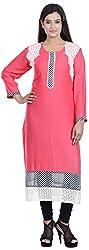 Amafhh Women's Rayon Regular Fit Kurta (Pink)