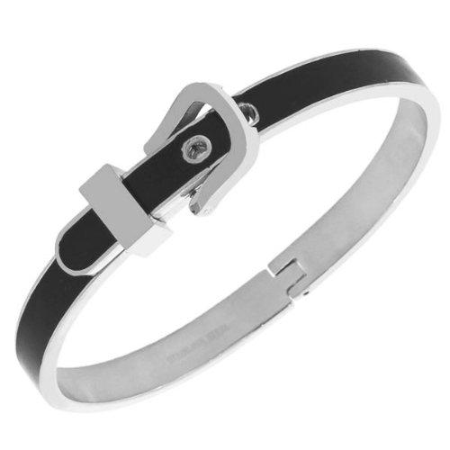 Stainless Steel Yellow Rose Gold Silver-Tone Black White Belt Buckle Handcuff Womens Adjustable Bangle Bracelet (Rhodium Plated/Black Enamel)