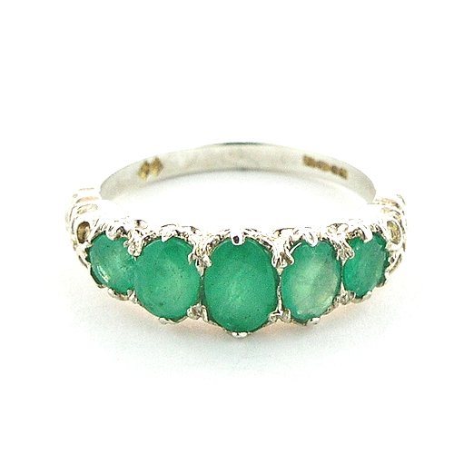 Sterling Silver Ladies Emerald 5 Stone Ring - Size L - Finger Sizes L to Z Available