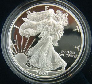 2000 AMERICAN SILVER EAGLE PROOF $1 DOLLAR COIN W/BOX