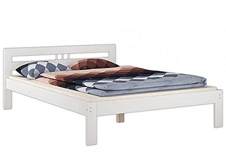Doppelbett 140x200 Französisches Bett Futonbett Kieferbett weiß Rollrost Matratze 60.64-14 W M
