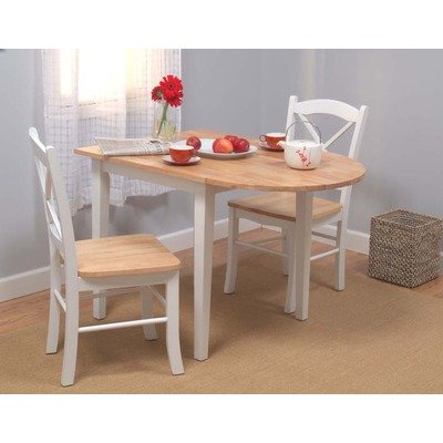 TMS 3pc Tiffany Dining Set, White/Natural