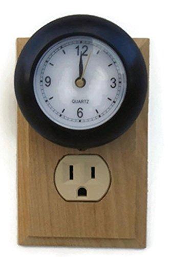clock night light black plug in soft white led safety security bathroom bedroom kitchen. Black Bedroom Furniture Sets. Home Design Ideas