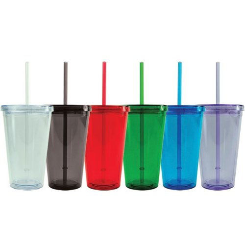 BPA-Free Double Wall Acrylic Tumbler with Lid and Straw, Resuable