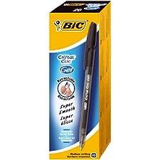 BIC Cristal Clic - Bolígrafo de tinta gel con punta retráctil (trazo de 0,4 mm, 20 unidades), color negro