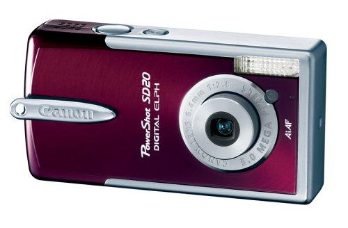 41Y1HK4M2FL Canon Powershot SD20 5MP Ultra Compact Digital Camera (Garnet)