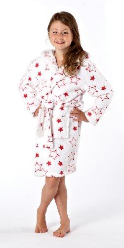 Girls Hooded Jaquard Stars Design Soft Fleece Dressing Gown Bathrobe 2-3 years
