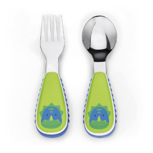 Skip Hop Zoo Utensil Set, Green Dinosaur, 12 Months Plus
