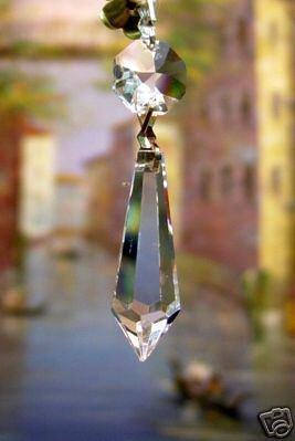 38mm Crystal U-Drop Icicle Prisms-W/ 14mm Octagon Crystal #401-38