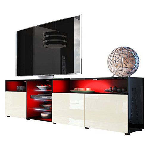 Tv Stand Unit Granada V2 In Black / Cream High Gloss