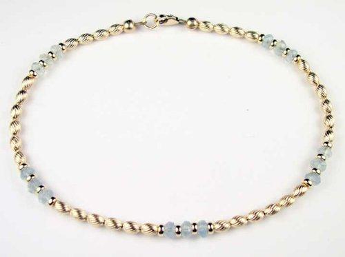 Damali TWISTED AQUAMARINE 14Kt Gold Filled Gemstone Anklets / Ankle Bracelets w/ Adjustable 1 Inch Extension