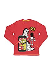 Poppers by Pantaloons Boy's Round Neck T-Shirt (205000005613302, Red, 11-12 Years)