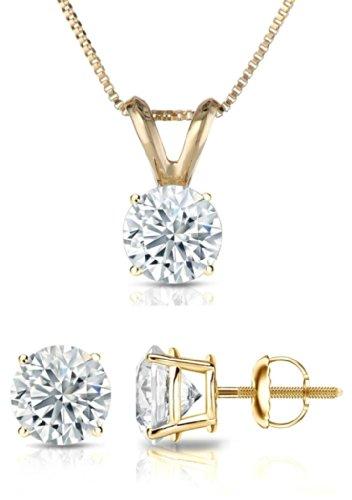 Round Diamond Pendant & Stud Set Popular Quality Screw Back Yellow Gold (0.08ct Color-IJ Clarity-I1)