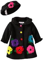 Bonnie Baby-girls Newborn Fleece Coat And Hat Set, Black, 3-6 Months