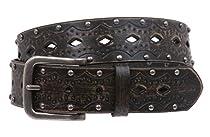 Snap on Studded Vintage Embossed Jean belt Size: M/L - 36 Color: Black