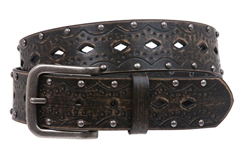 Snap on Studded Vintage Embossed Jean belt Size: L/XL - 40 Color: Black