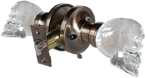 Krystal Touch of New York 3733APR Skull Privacy Doorknob, 2.5-Inch, Antique Brass