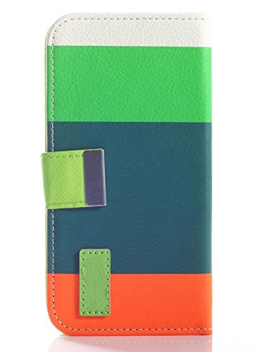Mylife (Tm) Dark Green + Safety Orange Stripes {Modern Design} Faux Leather (Card, Cash And Id Holder + Magnetic Closing) Slim Wallet For The All-New Htc One M8 Android Smartphone - Aka, 2Nd Gen Htc One (External Textured Synthetic Leather With Magnetic C