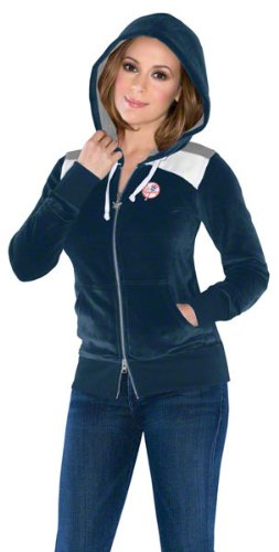 New York Yankees Women's Velour Comeback Full-Zip Hoodie - by Alyssa Milano at Amazon.com