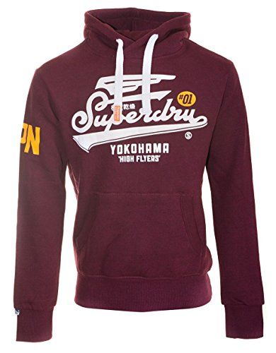 SUPERDRY High Flyers Reworked Hood, Felpa Uomo, Rich Burgundy Gritynf, L