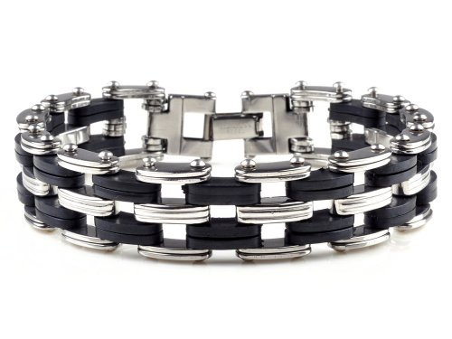 Men's Stainless Steel / Black Rubber Link Biker Bracelet 8.7