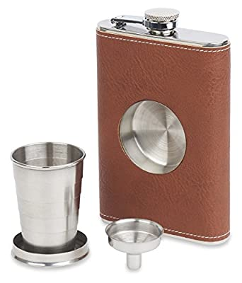 Dirty Mack's 8oz Shot Flask - Brown Leather Stainless Steel 8 Ounce Hip Whiskey Flask Gift Set with Collapsible Retractable Steel Cup and Easy Pour Funnel - Great Wedding or Anniversary Gift