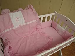 Baby Doll Bedding Gingham with Rocking Horse Applique Cradle Bedding Set, Pink