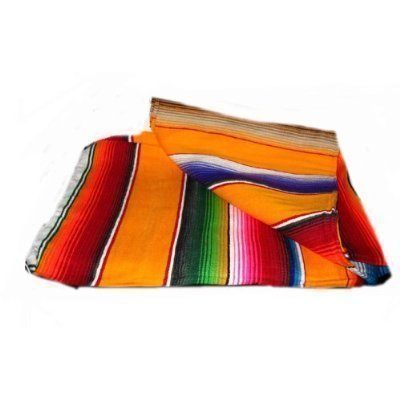 Large Authentic Mexican Blankets Colorful Serape Saltillo Blankets blue