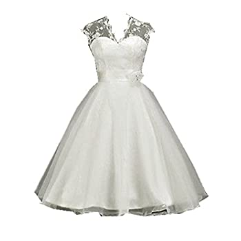 Zorabridal Women's Cap Sleeve A-line Tea Length Lace Vintage Short Wedding Dresses