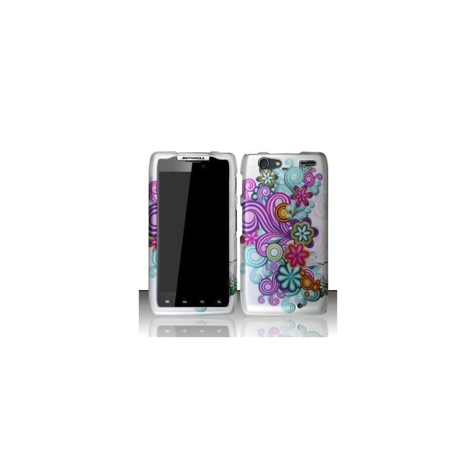 PURPLE & BLUE FLOWERS Hard Plastic Design Matte Case for Motorola Droid RAZR MAXX XT913 / XT916 (Verizon) + Screen Protector [In Twisted Tech Retail Packaging]