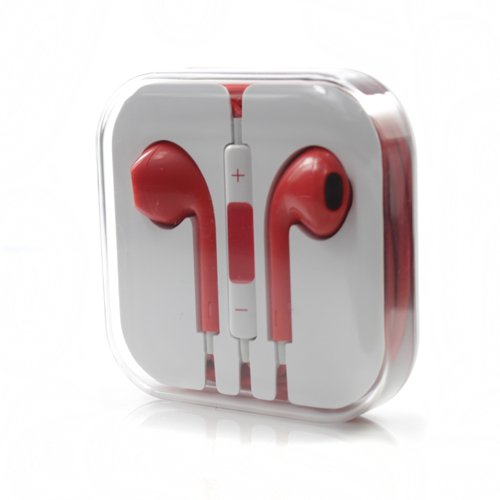 24Hb 3.5Mm Plug In-Ear Earphone With Microphone & Volume Control (Red)